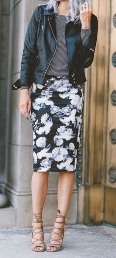 #fall #outfits / flower print + leather