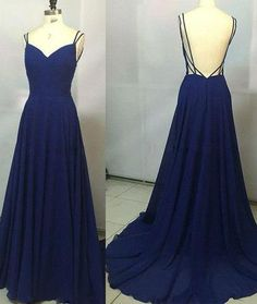 chiffon prom dress, long prom dress, dark blue prom dress, cheap evening dress, backless prom dress, BD372