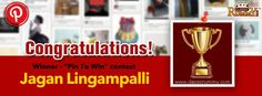 """Congratulations """"Jagan Lingampalli"""" - You are our """"Pin To Win"""" Contest Winner!!!  You have won Rs. 100/- cash free...  Thanks for participating and keep checking for more contests and promos.  To know more about the check the link below: http://blog.classicrummy.com/classic-rummy-on-social-media/pin-your-interest-at-classic-rummy-to-win-cash?link-name=CR-12"""
