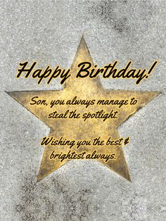 Send Free Got Star Power - Happy Birthday Card for Son to Loved Ones on Birthday & Greeting Cards by Davia. It's free, and you also can use your own customized birthday calendar and birthday reminders. Happy Birthday Son Wishes, Birthday Messages For Son, Unique Birthday Wishes, Birthday Verses For Cards, Happy Birthday Cupcakes, Birthday Quotes For Daughter, Birthday Wishes For Myself, Happy Birthday Pictures, Happy Birthday Sister
