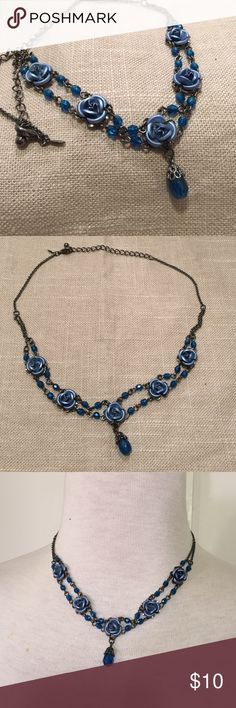 Avon blue and gray floral delicate necklace This is a beautiful and delicate necklace by Avon, charming flowers and beads. See pictures for details. Good condition minor wear. Be sure to check out other items in closet and bundle to receive discounts. Avon Jewelry Necklaces