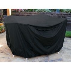 These durable, heavy duty 6 gauge flexible black vinyl covers with stitched seams for extra strength, slip on and off easily with over-sized free form fit and hold secure with strong elastic bottoms Outdoor Table Covers, Picnic Table Covers, Outdoor Furniture Covers, Outdoor Cover, Lawn Furniture, Round Table And Chairs, Patio Table, Patio Chairs, Patio Grill