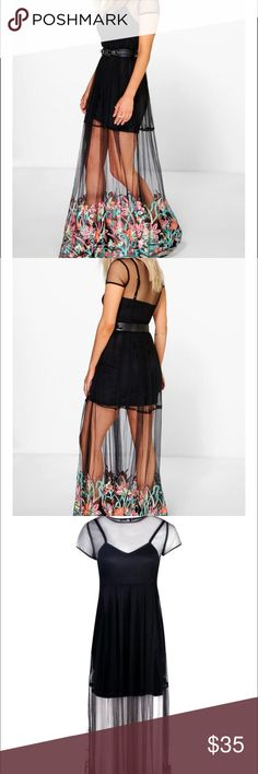 🎀COMING SOON🎀 Embroidered Mesh Maxi Dress Super cute if you love for love and lemons you'll love this dress and for the price!! Boohoo Dresses Maxi