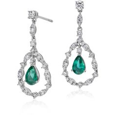Blue Nile Emerald and Diamond Drop Earrings (£980) ❤ liked on Polyvore