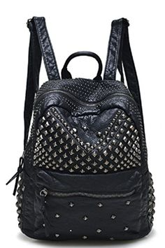 Sannea Womens Studded Leather Backpack Casual Pack Fashion School Bags for Girls *** Unbelievable item right here! Studded Backpack, Black Leather Backpack, Black Leather Bags, Studded Leather, Leather Backpacks, Men's Leather, Little Backpacks, Cute Backpacks, Girl Backpacks