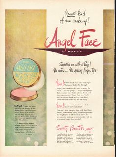 """1948 POND'S MAKE-UP vintage magazine advertisement """"Newest kind"""" ~ Newest kind of new make-up! - Angel Face by Pond's - Smooths on with a Puff! No water -- No greasy finger tips ... The Angel Face look -- completely adorable ... completely natural. ..."""