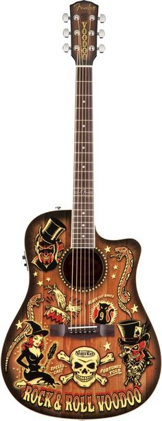 One of my acoustic guitars....Voodoo Vince Ray Fender T-Bucket Acoustic Guitar. I love this thing!