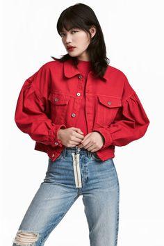 Krótka kurtka dżinsowa - Czerwony - ONA | H&M PL