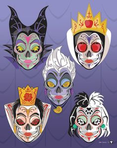 Disney Villains Sugar Skull art print from Etsy seller NutCracks. Villains from Disney movies illustrated as Day of the Dead sugar skulls! Featured are: Maleficent, Ursula, Cruela, the Queen of Hearts, and Snow White's stepmother the Evil Queen. Each character is also available as a separate print