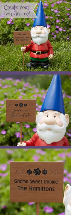 OMG - no way! Now you can create your own Garden Gnome! This is too cute and too funny! You can personalize this garden gnome's sign to say whatever you want and you can pick from a cute bee or flower design or no design plus you can pick script or block font ... this is such a great gift idea for gardeners - only at PMall can you find this kind of awesome stuff!