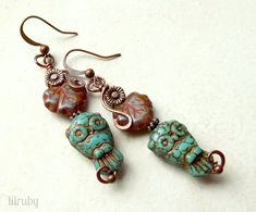 Boho owl earrings rustic Czech glass owls and leaves by lilruby