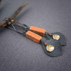 rustic ceramic earrings • handforged copper leaves • drop • glass petals • nature • dark oxidized • boho earrings • earthy • garden