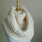 Chunky Hand Knit Infinity Scarf in Neutral Cream Winter White Original