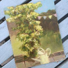 Climbing hydrangea - plein air painting by Vicki Hutchins