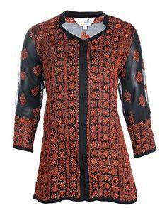 Ladies Tunic Top Kurti Indian Chikankari Hand Embroidery Women Summer dress * For more information, visit image link.