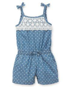 Little Me - Baby Girl's Chambray Romper African Dresses For Kids, Kids Outfits Girls, Little Girl Dresses, Girl Outfits, Baby Dress Design, Baby Girl Dress Patterns, Baby Frocks Designs, Kids Frocks Design, Kids Dress Wear