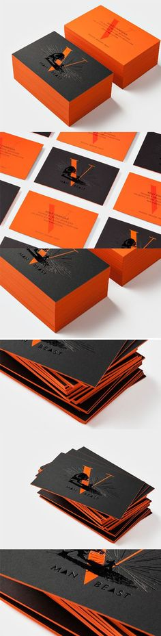 Eye Catching Colour Pop Orange And Black Hot Foiled Business Card