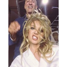 Pin for Later: Fashion and Fun Take Over This Week's Cutest Celebrity Candids  Model Candice Swanepoel snapped a selfie while getting her hair done. Source: Instagram user angelcandices