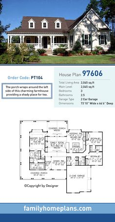 Traditional Style House Plan 97606 with 3 Bed , 3 Bath , 2 Car Garage – Farmhouse Plans Family House Plans, Best House Plans, Dream House Plans, Small House Plans, House Floor Plans, The Plan, How To Plan, Country House Design, Country Style House Plans