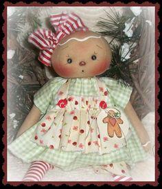 PriMitive Folkart Raggedy Ann ~ Gingerbread Baby Girl ~ Green ~ Sugar & Spice  #NaivePrimitive