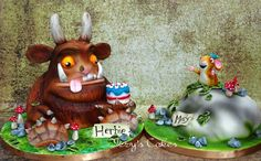 Two cakes for two brothers who love the Gruffalo book!