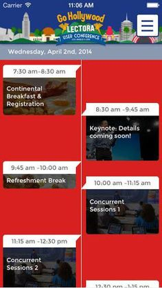 The 2014 Lectora® User Conference mobile app provides instant access to everything you'll want to know while in Los Angeles. Find information on speakers, training events, local entertainment, hotel information, sales team contacts and more!