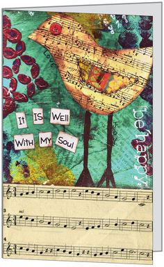 Bird It Is Well With My Soul-Set of 3 Blank Mixed Media Card. $9.00, via Etsy.