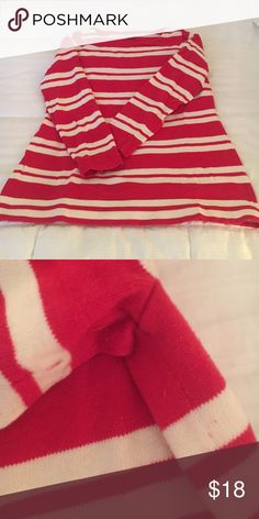 """Jcrew red cream stripe sweater Medium Jcrew red cream stripe sweater Medium. Excellent condition. 3/4 sleeves. 24"""" in lengthy. Nice heavy weight. There is slight pulling under arm that happened after one wearing. The red is not my color but would look great on you. J. Crew Sweaters Crew & Scoop Necks"""