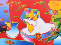 Large Peter Max Painting, Original Work.  MARKINGS: signed; 1998.  Work is titled DAYDREAM. Gallery label to reverse: Wentworth Gallery Ltd., Inc. Miami, Florida.Lot is accompanied by original Certificate of Authenticity issued by Gallery Art, Aventura, Florida; original conservator's letter describing original work from James Swope Fine Arts Conservation, Inc., West Palm Beach, Florida, dated 5.20.16; and original sales receipt for a prior sale dated 8.2.05.