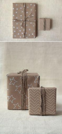 Diy Kraft Wrapping Paper, Creative Gift Wrapping, Present Wrapping, Wrapping Papers, Christmas Gift Wrapping, Christmas Diy, Christmas Hearts, Birthday Gift Wrapping, Gift Wrapping Ideas For Birthdays