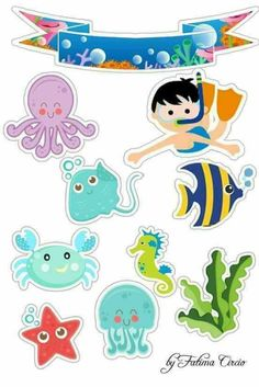 Under the sea cake toppers Sea creatures printable topper Nautical cupcake toppers Sea animals baby birthday Under the sea party - DIGITAL Under The Sea Theme, Under The Sea Party, Decoration Creche, Art For Kids, Crafts For Kids, Cupcake Toppers Free, Sea Cakes, Ocean Themes, Baby Shark
