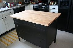 Kitchen Island Dresser but I would make both the counter top and dresser color the same color as my counter cabinets and counter top.