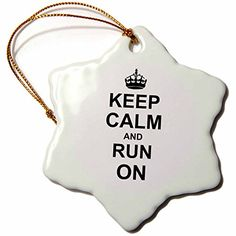 "> Sensational bargains just a click away: 3dRose LLC orn_157767_1 Porcelain Snowflake Ornament, 3-Inch, ""Keep Calm and Run on-Carry on Running-Track Athlete Gifts-Funny Humor Humorous"" at Christmas Home Decor ."