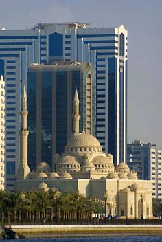 Sharjah Mosque and skyscrapers, United Arab Emirates