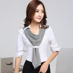 245f2987ad114    gt  gt Big Save onFashion women s elegant bow shirt slim white blouse
