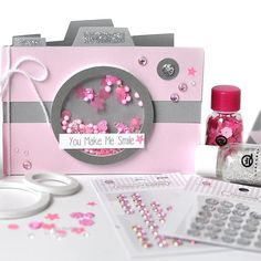 « Adorable camera shaker card using Queen & Co Pop Ups, Toppings and bling…