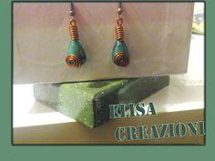 orecchini in rame e agata verde