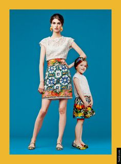 mother-and-daughter-matching-dresses-ideasfall-winter-2014-15-lace-top-and-sicilian-print-skirt  Find More: http://www.imaddictedtoyou.com