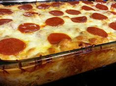 Yum... I'd Pinch That! | Kai's pizza casserole - with egg, milk, hamburg, garlic, pizza sauce, cheese, noodles and pep