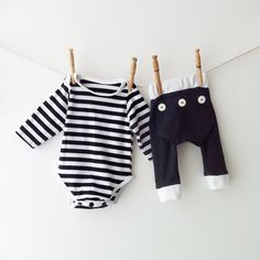 Girls don't always need to be in pink! Pyjama set  black and white striped onesie and long john pants by mabelretro, $51.00