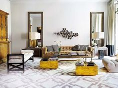Living room | by Estefanía Carrero - Madrid | Sculpture Curtis Jeré | Mirror by Estefanía Carrero | Chéster Edward Wormly | Robert Allen | Carpet showroom Luis Puerta.