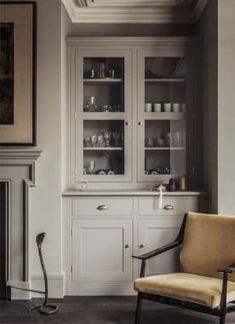 Best kitchen cabinets glass doors built ins Ideas Alcove Storage, Alcove Shelving, Storage Drawers, Corner Storage, Storage Ideas, Classic Kitchen, New Kitchen, Kitchen Decor, Basement Kitchen