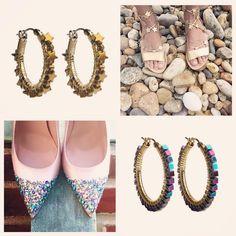 "viv&ingrid Accessories & Gifts on Instagram: ""Shoe-spiration from @loefflerrandall and @sjpcollection! #vivandingrid #star and #chrome Hoops in metallic hematite stones...  #littleluxuries #styleboard #inspiration #shoes #heels #sandals #hoops #handmade #semiprecious #gold #earrings #jewelry #accessories #newyearseve #NYE #repost #regram"""