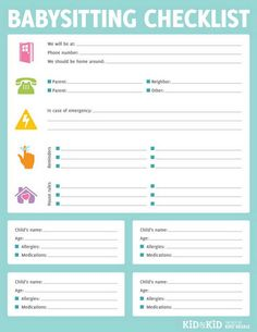 It is an image of Sizzling Babysitter Checklist Printable