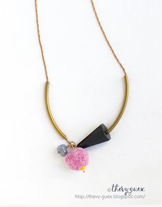 Tribal Tube Bead Pink Pompon and Conical Black Glass by thevyguex, $32.00