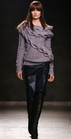 Boat neck cable sweater