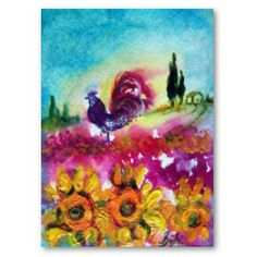 SUNFLOWERS AND BLACK ROOSTER  Poster by Bulgan Lumini Vibrant and colorful acrylic painting on canvas 2008