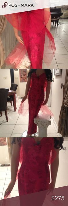 Gown Valentine's Day stunner!!! One of a kind. Cabbage roses special imported fabric and a big tulle now in back. Back slit. V neck strapless. Tulle sides of bow flow to floor. dana deatherage Dresses Maxi