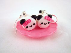 Marshmallow Panda with Bow Kawaii Polymer Clay by DoodieBear, $11.00
