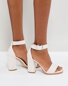 RAID Imani Pale Pink Block Heeled Sandals at ASOS. Black Strappy Heels, White Heels, Black High Heels, White Heeled Sandals, White Block Heels, Black Sneakers, Bride Shoes, Wedding Shoes, Fashion Heels